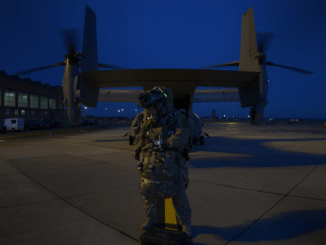 An Air Commando from the 321st STS - Special Tactics Squadron prepares for parachute jump from CV-22 Osprey. (Photo by SSgt Victoria H. Taylor, USAF, 14 Dec 2016).