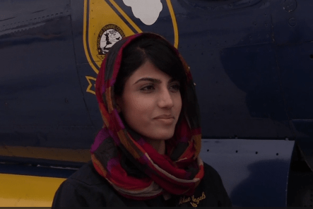 Niloofar Rahmani, first female fixed-wing pilot in the Afghan Air Force. (Photo from video by Ryan M. Harper, Navy Media, 11 Mar 2015.)