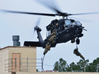SOF Operators helicasting onto a rooftop (photo from USSOCOM 2016 Factbook)