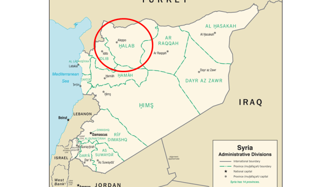 Fall of Aleppo - Map depicting location of Aleppo, Syria (red circle). (Map from CIA 2007).