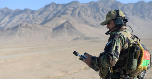 Member of Afghan SOF conducts CAS training during Winter Campaign 2016 (Photo RS HQs 27 Dec 2016 by USAF Capt.Kay. M. Nissen)