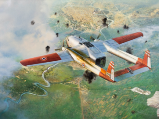 "Painting - ""Earthquake's Final Flight"" depicts the final flight of a C-119 flown by contract CIA pilots dropping resupply bundles to the French over Dien Bien Phu, Vietnam in 1954. The aircraft was struck by AAA and later crashed in Laos. (painting at CIA HQs)."