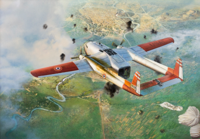 """Painting - """"Earthquake's Final Flight"""" depicts the final flight of a C-119 flown by contract CIA pilots dropping resupply bundles to the French over Dien Bien Phu, Vietnam in 1954. The aircraft was struck by AAA and later crashed in Laos. (painting at CIA HQs)."""
