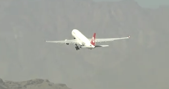 Plane taking off from Hamid Karzai International Airport (HKIA) in late 2016 (Photo from RS HQs video)