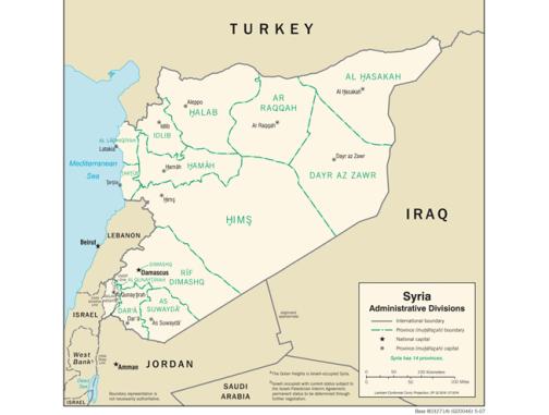 Map Syria Admin Divisions CIA 2007