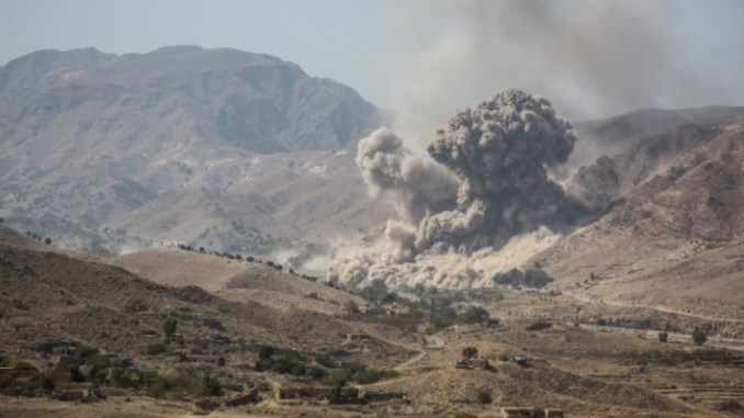 ISIS-K defensive fighting positions are targeting in Momand Valley, Achin district, Nangarhar province, Afghanistan on October 19, 2017. (Photo by CPL Matthew DeVirgilio, NATO Special Operations Component Command - Afghanistan)