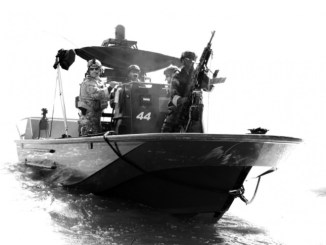 African students conduct riverine boat training at NAVSCIATTS. (Photo by Michael Bottoms, USSOCOM, November 16, 2017).