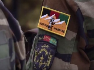Shoulder patch of the Afghan National Army Mountain Warfare Training Center in Herat, Afghanistan.