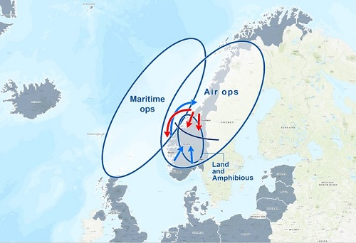 Trident Juncture 2018 area of operations map
