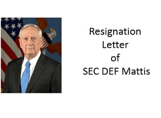 Jim Mattis letter of resignation