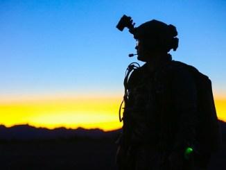1st SFGA Soldier at Yuma Proving Grounds - An SF Soldier after a night HALO parachute jump at Yuma Proving Groupds Arizona. Photo by SGT Ian Ives, 1st SFGA, Jan 26, 2019.