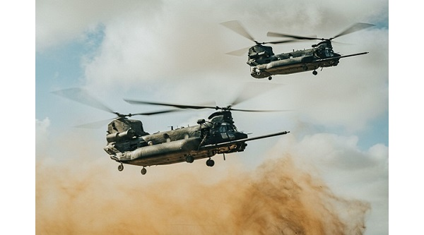 Chinooks flying in support of African Lion 2021