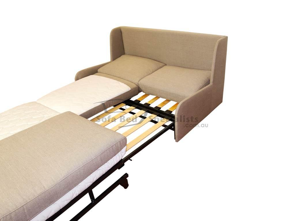 armless queen sofabed with timber slats