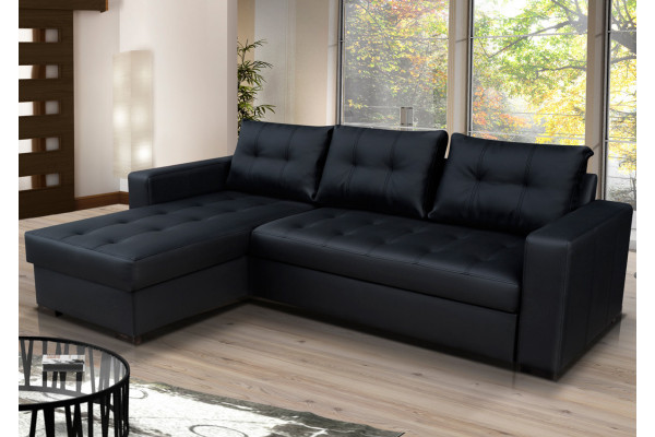 modern black leather corner sofa bed with storage onyx