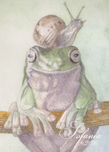 ACEO_Frog & Snail