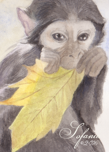 ACEO_monkey with autumn leaf