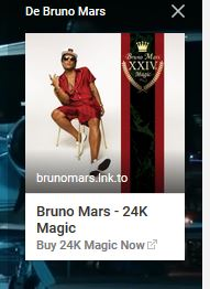 fiche youtube avec Bruno Mars