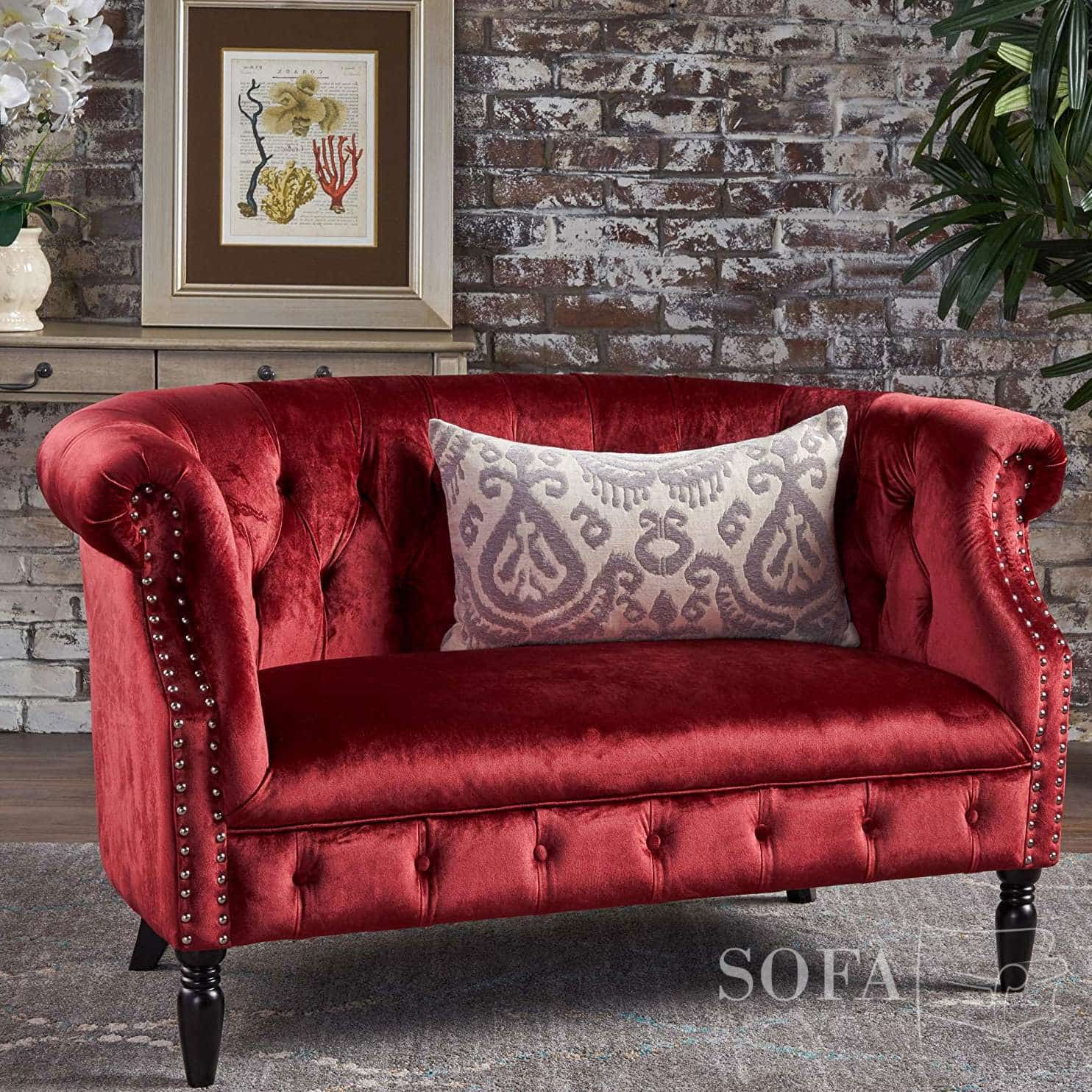Can't you just see yourself lounging on this deep tufted bench sofa (and. The Best Red Velvet Couches Of 2021 | Sofa Spring