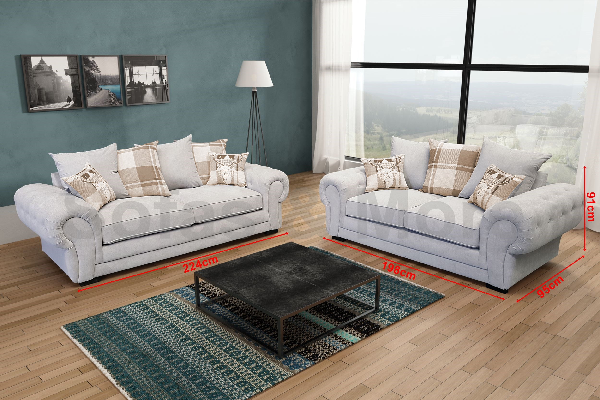 3 Seater 2 Seater Sofa Suite Set Fabric Velour Grey Brown