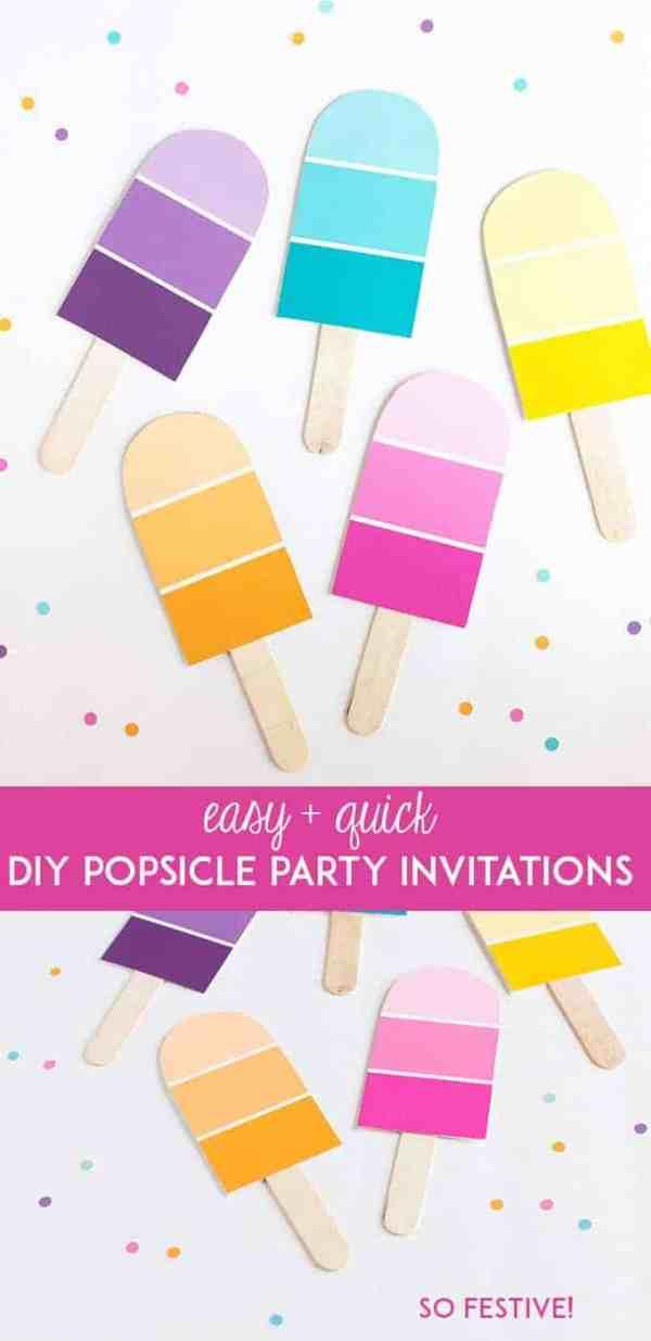 DIY Popsicle Party Invitations - So Festive