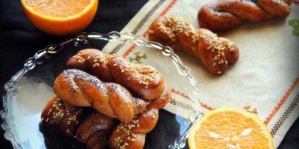 Κουλουράκια ελαιολάδου ,με πορτοκάλι και αλεύρι ολικής αλέσεως, χωρίς ζάχαρη.