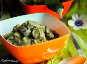 Μαγειρίτσα αλά Sofeto, με συκώτι , μανιτάρια και πτισάνη.