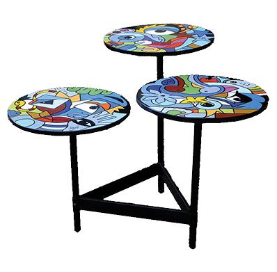 table basse design 3 plateaux