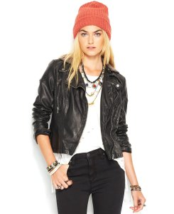 Free People Faux-Leather Hooded Moto Jacket