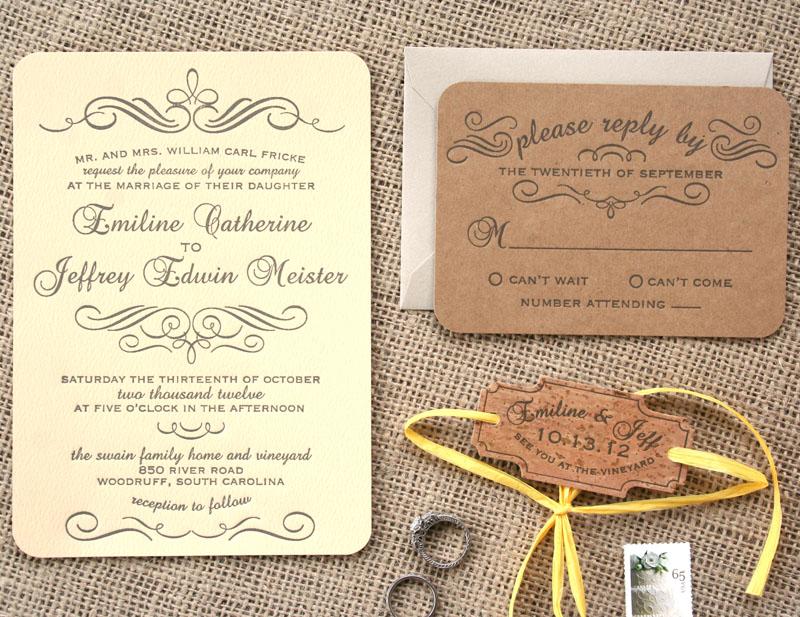 Flourish Vintage Letterpress Invitation, With Cork Detail