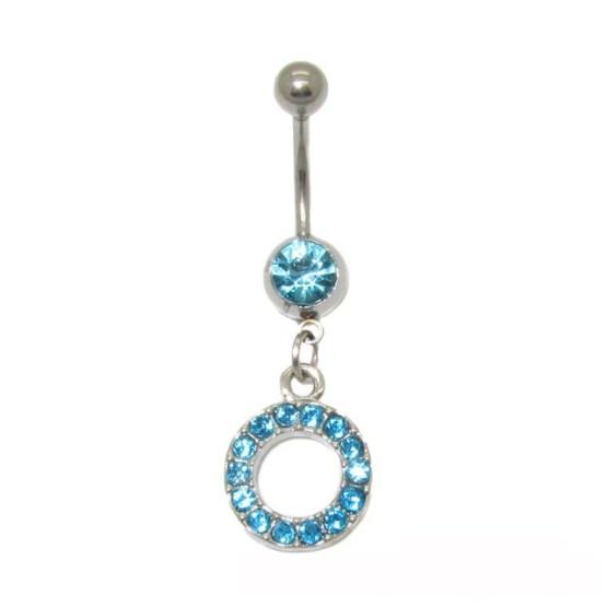 Κοσμήματα piercing αφαλού,κρίκος με σιελ στρας