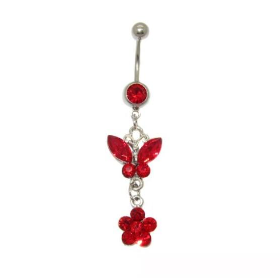 Κοσμήματα piercing αφαλού,πεταλούδα με κόκκινα στρας