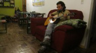Kike playing guitar, harmonica and singing. Gonna miss this in the evenings!