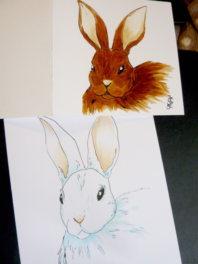 bunnies on different kind of paper