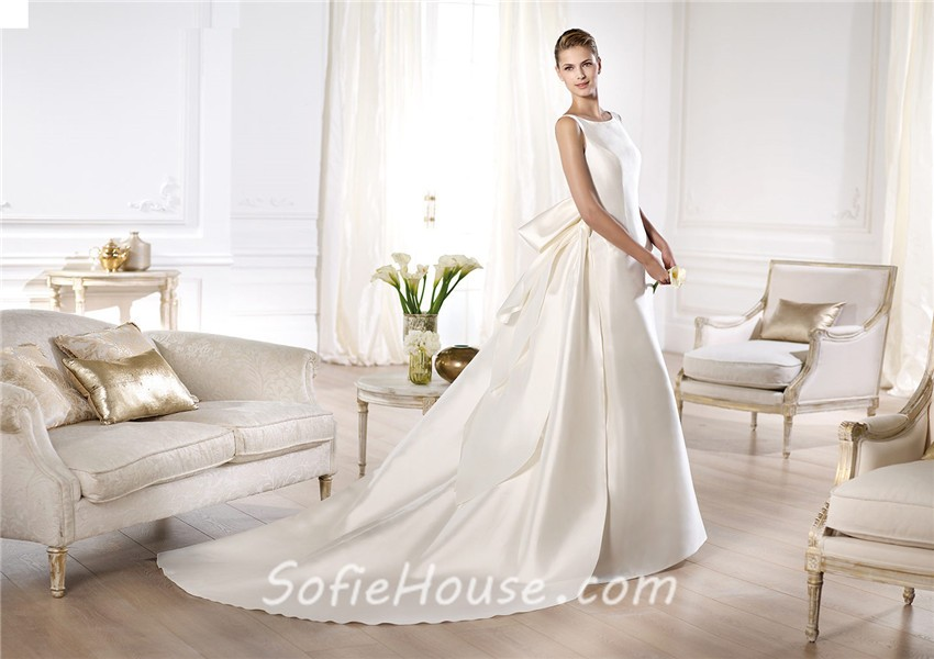 A Line Bateau Neckline Low V Back Satin Wedding Dress With
