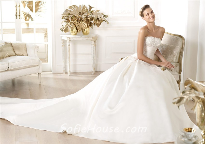 Fitted Ball Gown Strapless Satin Lace Wedding Dress With