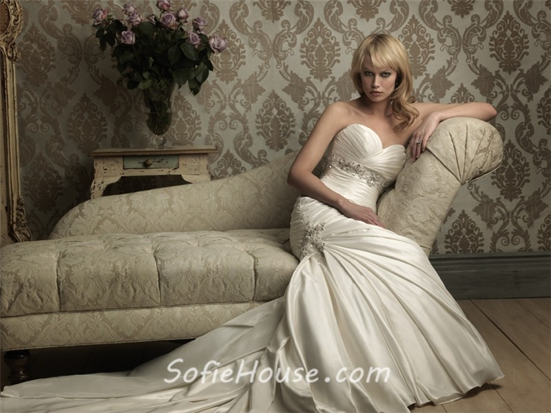 Mermaid Sweetheart Empire Waist Ruched Satin Wedding Dress