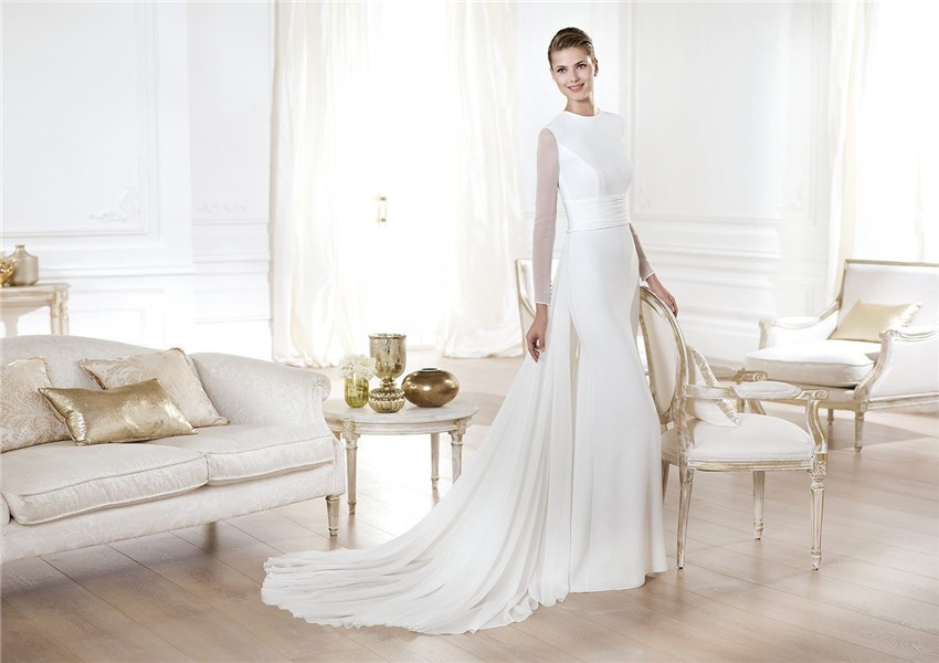 Modest A Line Scoop Neck Satin Chiffon Long Sleeve Wedding