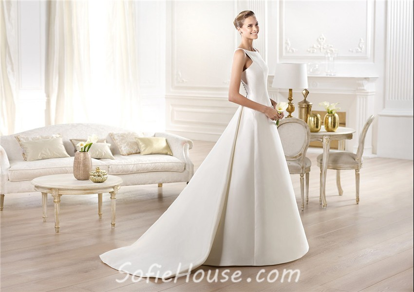 Modest Simple A Line Bateau Neck Satin Wedding Dress With