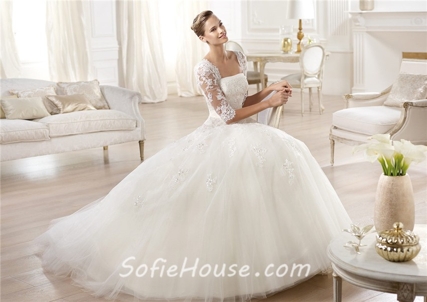 Princess A Line Strapless Backless Three Quarter Long