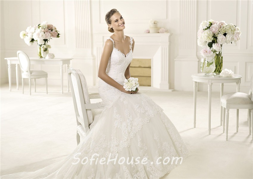 Sexy Mermaid Sweetheart Low Back Lace Wedding Dress With