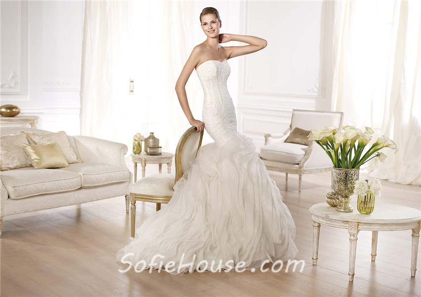 Sexy Slim Mermaid Sweetheart Lace Layered Organza Tulle