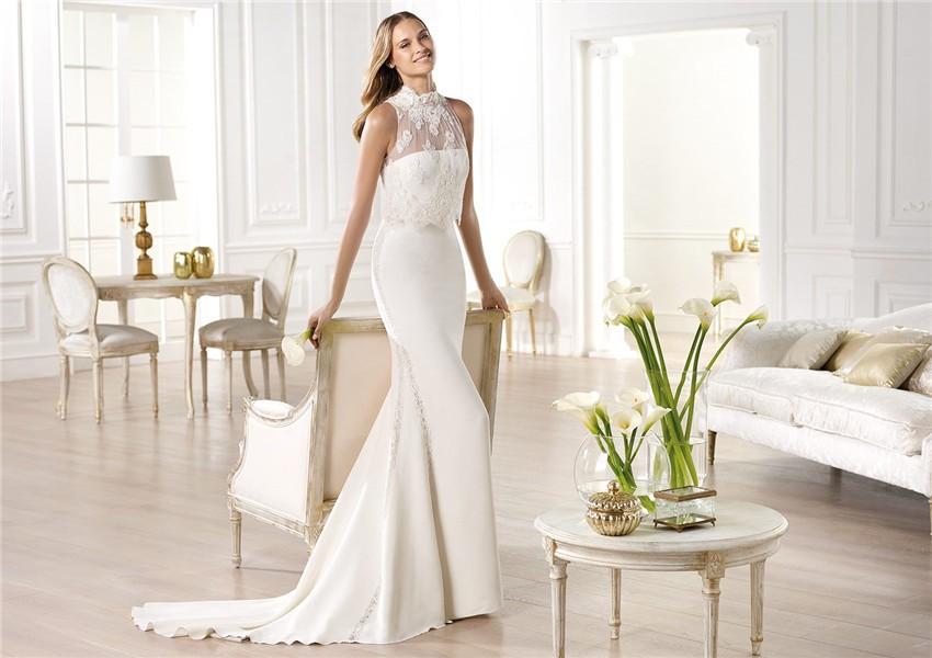 Slim Mermaid Strapless Satin Wedding Dress With High Neck
