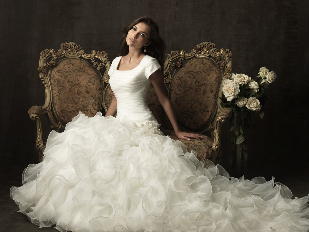 Ball Gown Square Neck Organza Ruffle Modest Wedding Dress