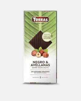 Stevia Schokolade 125g – Dark Schokolade mit Haselnüssen – Torras