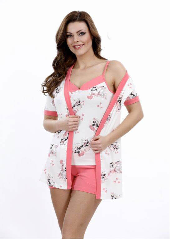 Набор халат пижама шорты Metin 8710
