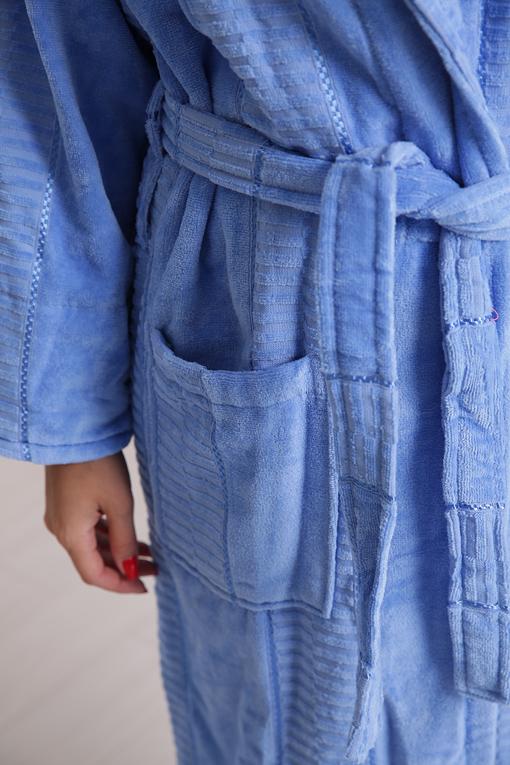 Халат махровый хлопок шаль Blue 3X 10819