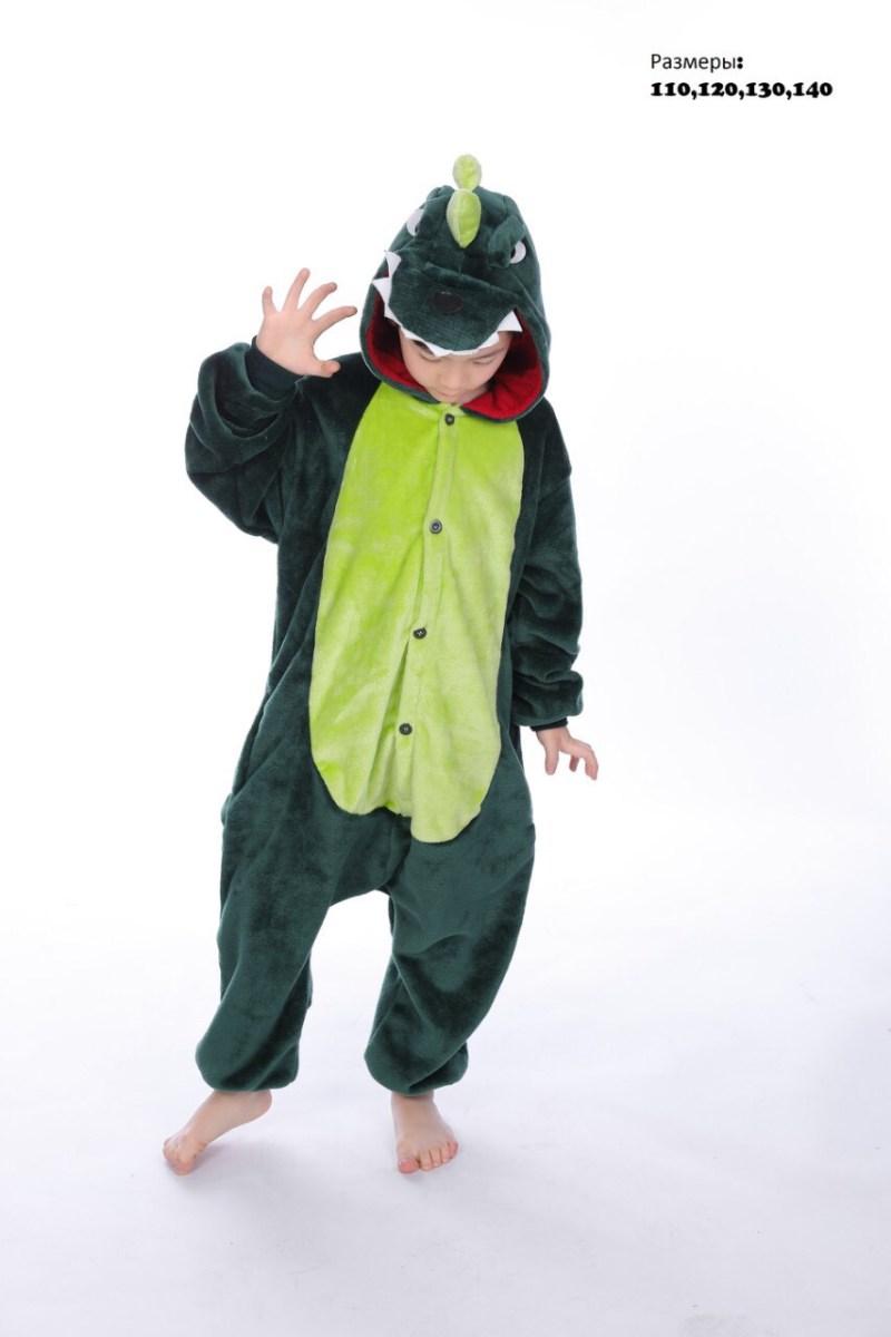 Кигуруми Детский зелёный Динозавр