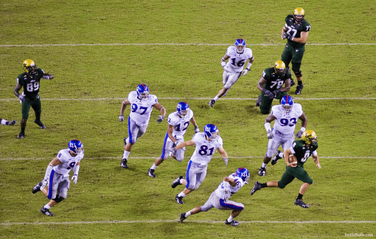 USF QB Matt Grothe avoids the Jayhawk Defense (High Angle) | Kansas 2008