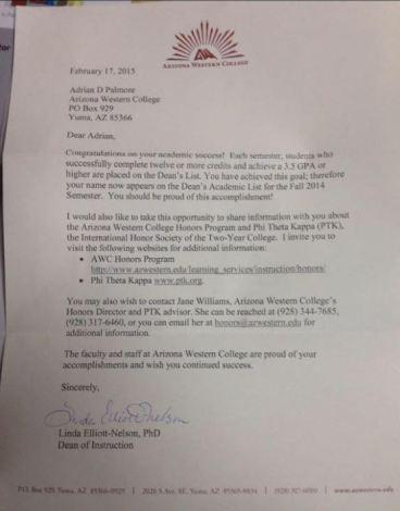 TE Adrian Palmore (Arizona Western CC) Grades Letter (554x709)
