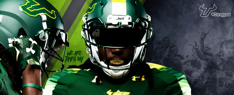 2016 USF Football #LeaveNoDoubt Green Stripe with Crowd Facebook Cover Photo by Matthew Manuri (3568x1462)